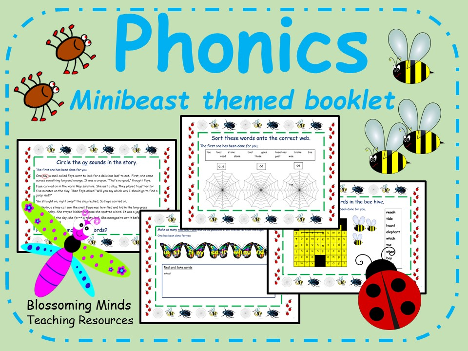 Phonics phase 5 booklet (20 pages) - minibeast/creepy-crawly theme