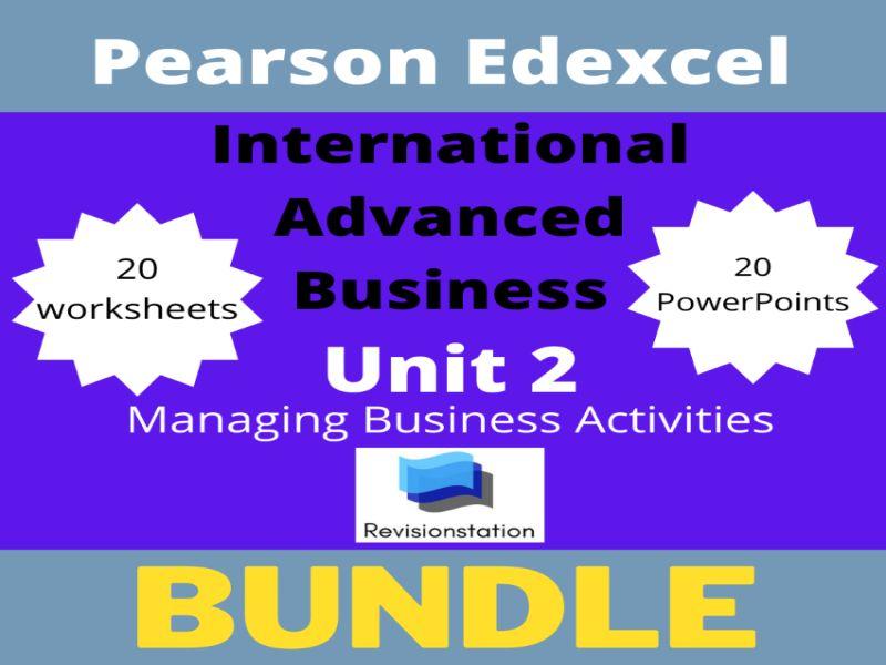 Pearson Edexcel International A Level Business complete Unit 2 bundle