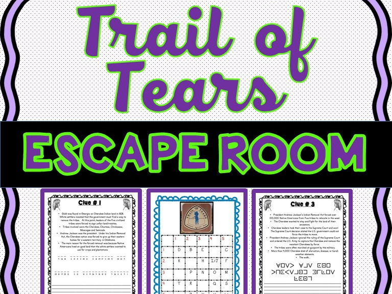 Trail of Tears Escape Room - U.S. History - No Prep!