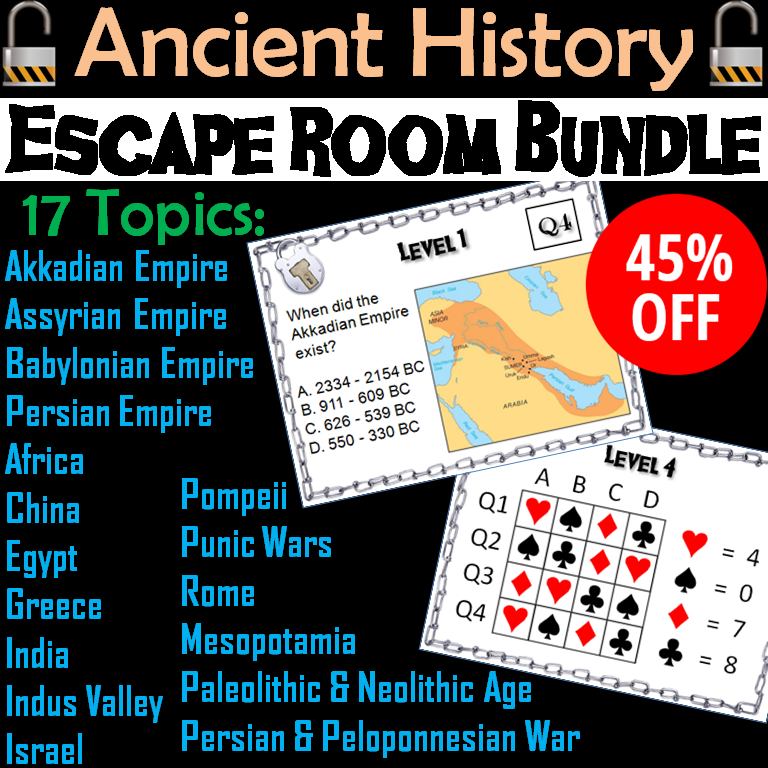 Ancient Civilizations Escape Room Social Studies: Expanded Bundle
