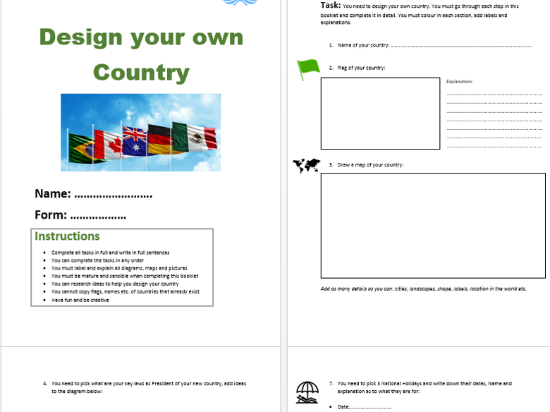 Design Your Own Country - Project Based Learning