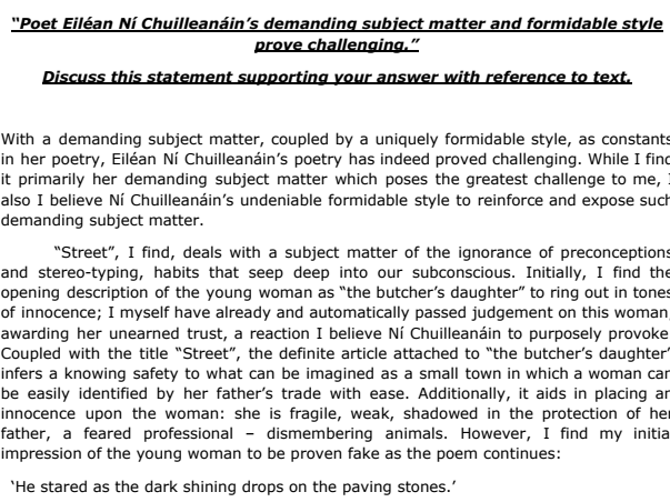 Eilean Ni Chuilleanain Sample Essay - Leaving Cert Poetry - Higher Level - 2015 Question
