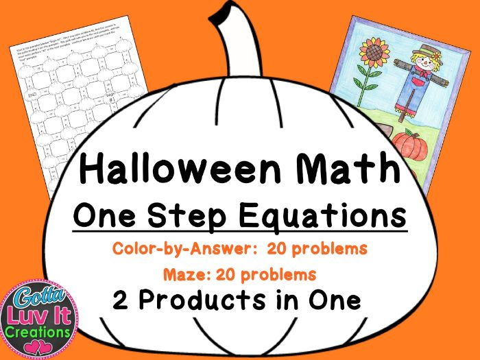 Solving Equations One Step Equations with Negatives Halloween Fall Bundle Maze & Color by Number