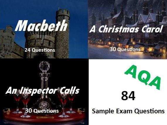 Macbeth, An Inspector Calls, A Christmas Carol Exam Questions
