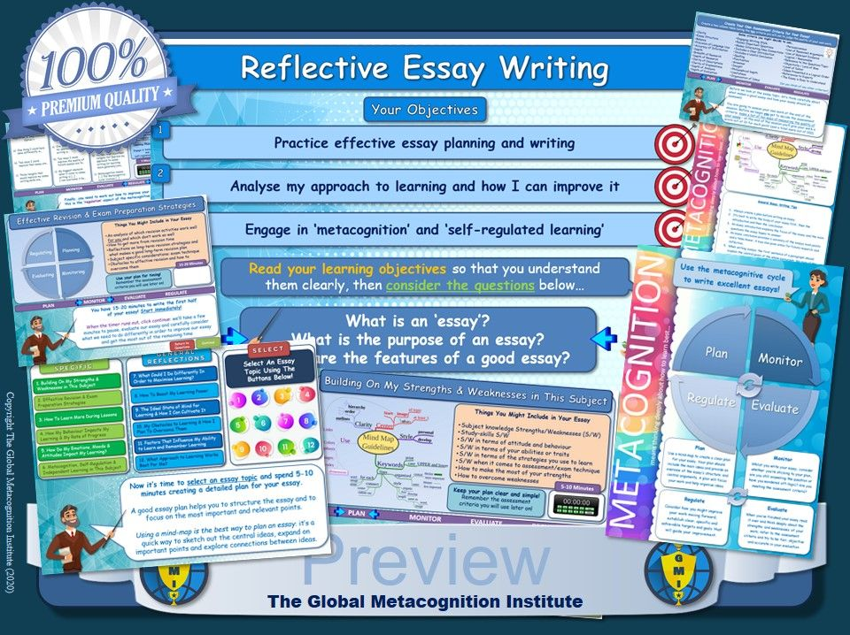 Metacognition Reflective Essay Toolkit (Self-Regulated Learning & Essay Writing Skills)