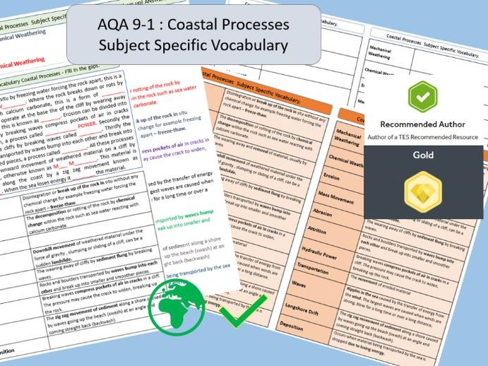 AQA 9-1 GCSE Geography - Coastal Processes Key Vocabulary Literacy Activity Sheets.