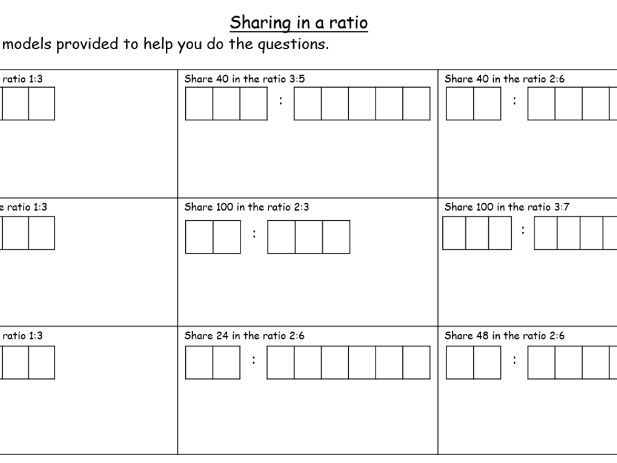 Sharing in a ratio worksheet