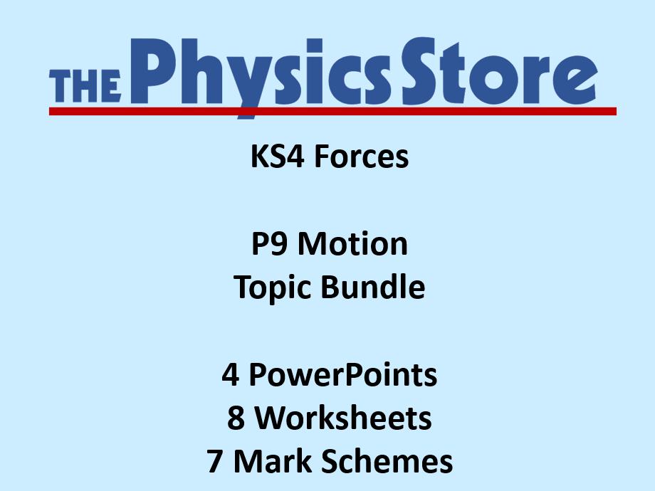 KS4 GCSE Physics AQA P9 Motion Topic - 4 PPTs, 8 WS and 7 MS Bundle