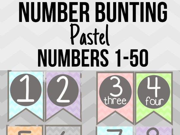 Pastel Number Bunting Numbers 1-50