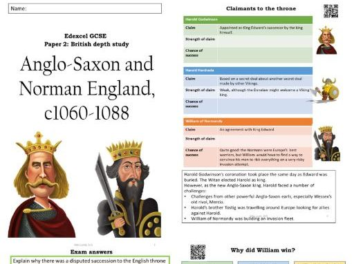Edexcel Anglo Saxons and Normans GCSE History Revision guide workbook