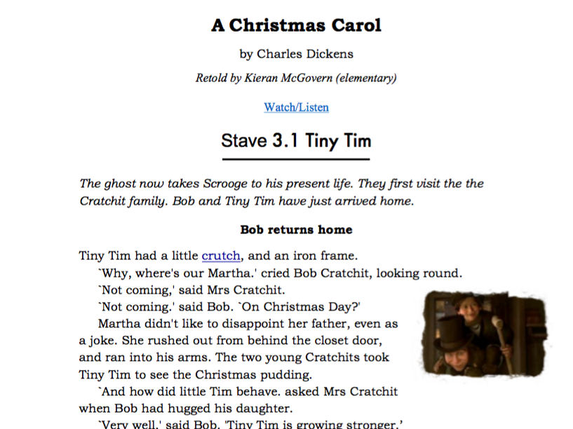 A Christmas Carol  Stave 3 31 Tiny Tim worksheet with audio