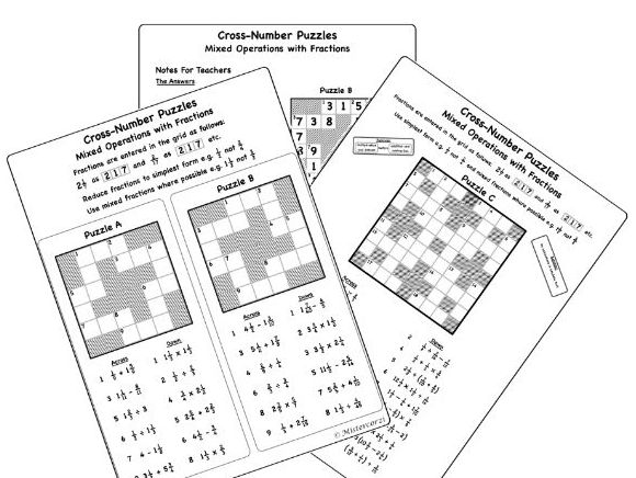 Mixed Operations with Fractions (Cross-number Puzzle)