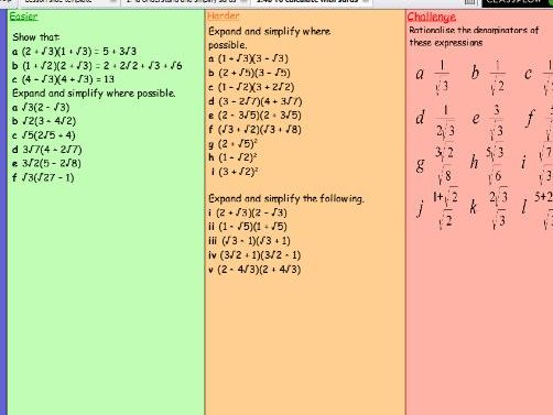 Lesson to teach expanding brackets with surds and rationalising the denominator
