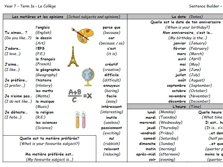 Year 7 French Sentence Builder - Le Collège