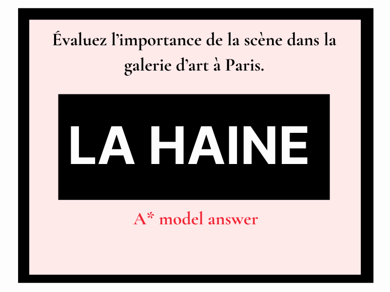 La Haine galerie d'art (essay question) French A level