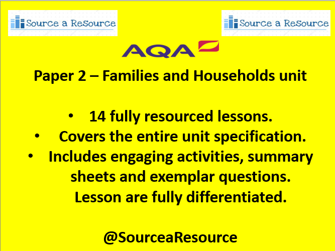 AQA Paper 2 Families and Households  unit