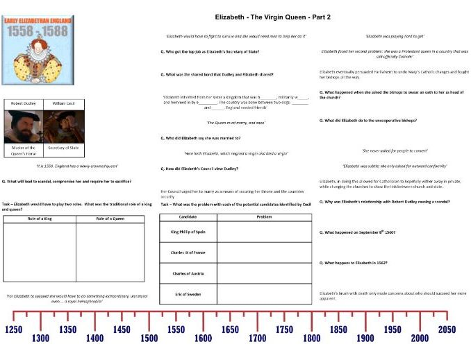 Elizabeth - The Virgin Queen - Part 2 of 4 Worksheet to support the David Starkey Documentary