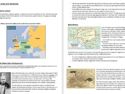 World War One AQA Conflict and Tension revision guide