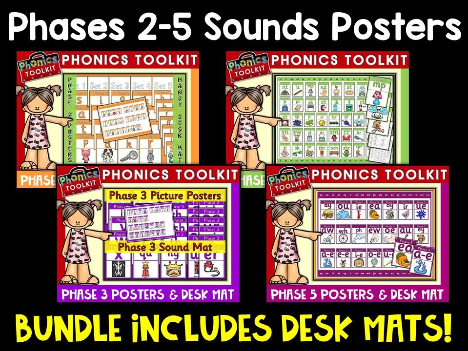 Phonics: Phases 2-5 Sounds Posters and Desk Mats Bundle