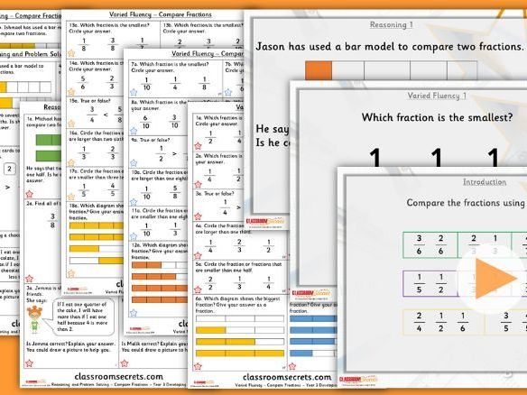 Year 3 Compare Fractions Summer Block 1 Lesson Pack
