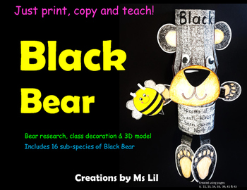 Black Bear Craft  ::  Black Bear Activity  ::  Black Bear Research Project
