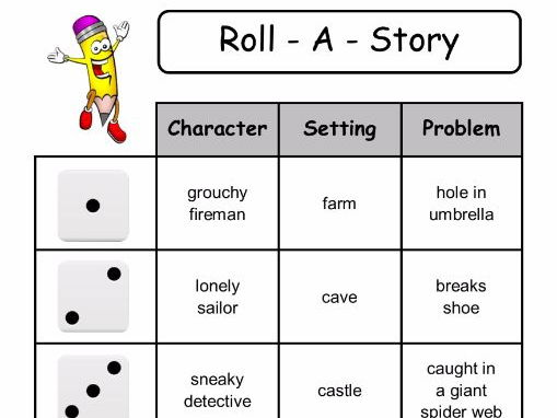 Roll - A - Story   (roll a dice to select character, setting and problem)