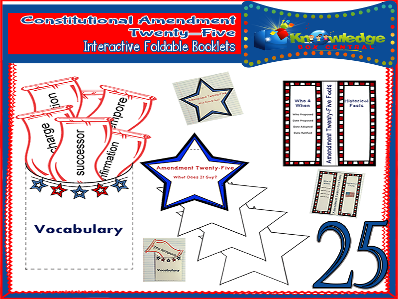 Constitutional Amendment Twenty-Five Interactive Foldable Booklets