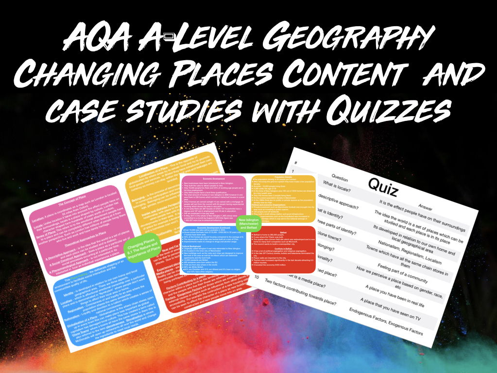 AQA A-Level Geography Changing Places Content and Case Studies Bundle With Quizzes
