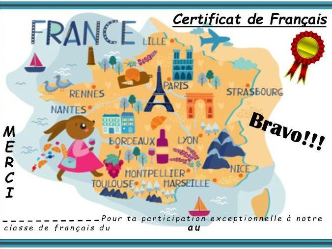 General French certificate 21/ Certificat de francais 21
