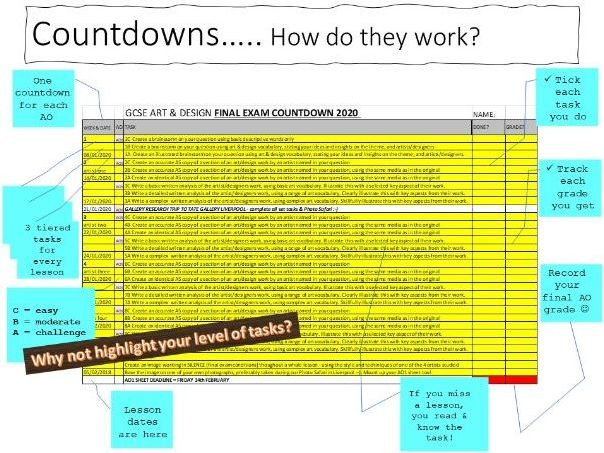 AQA A level final exam countdown - can be adapted for any exam board