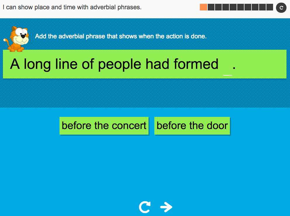 I can show place or time with adverbial phrases - Interactive Activity - Year 3 Spag