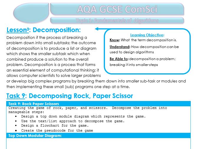 Unit 1 Student Booklet for AQA GCSE Computer Science 8520 - Algorithms (2016)