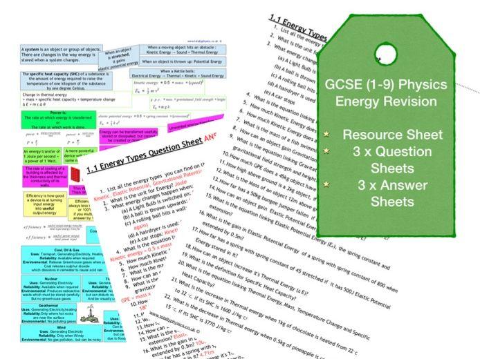 Energy Revision Questions (GCSE 1-9)