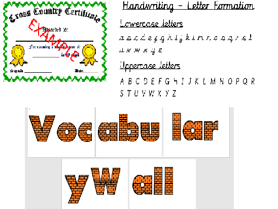 Vocabulary title, cursive handwriting display and certificates