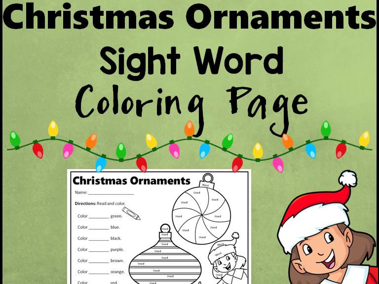 Christmas Ornaments Sight Word Activity Sheet *Editable*