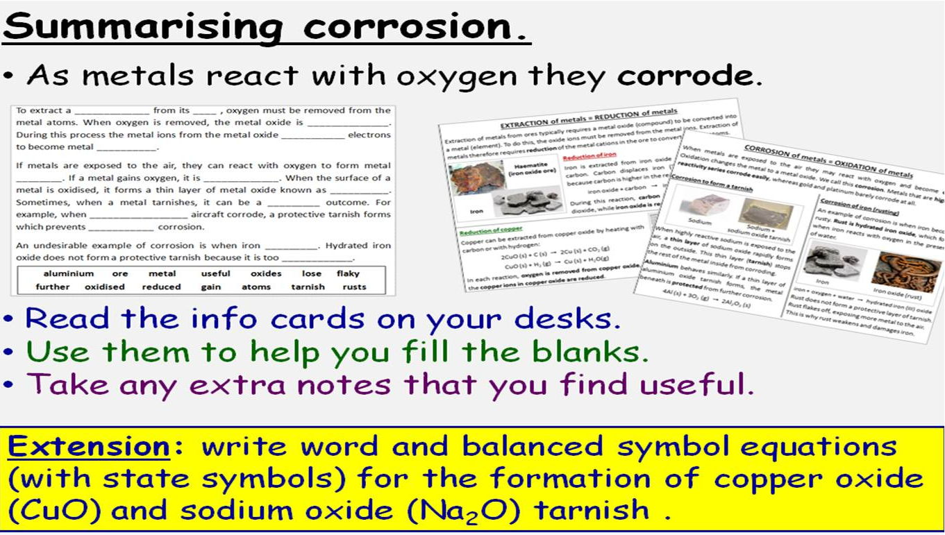 Transition Metals, Alloys and Corrosion: 4 GCSE Lessons. Edexcel 9-1 Topic SC13 TRIPLE ONLY