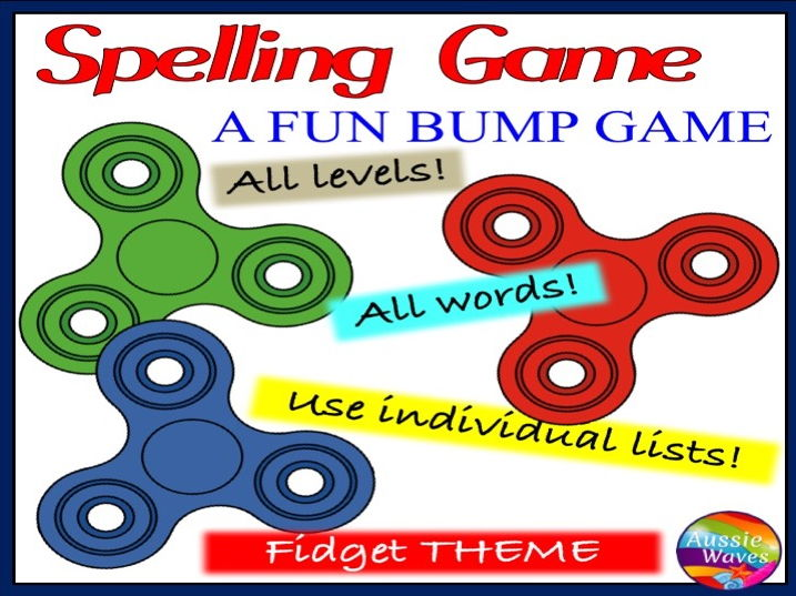 Spelling Game a BUMP GAME using individual lists *All words & grade FIDGET THEME