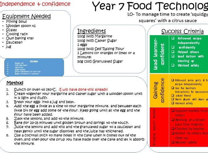 KS3 Food Technology Recipe, method and assessment cards