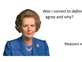 Was I right to join the Falklands war? Thatcher argument perspectives.