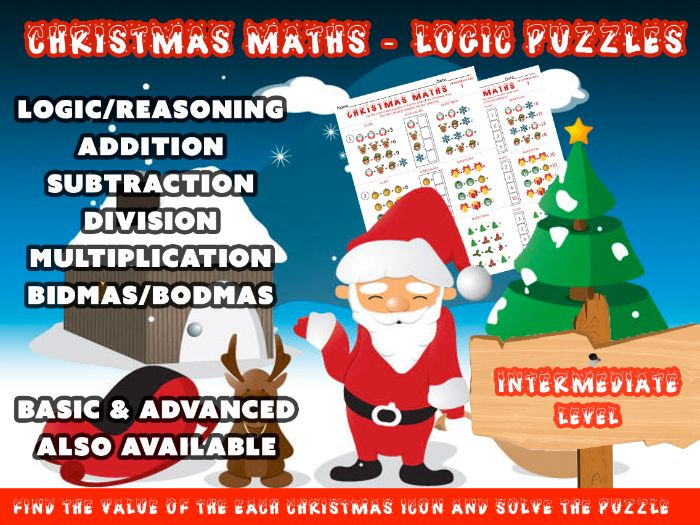 MATHS - LOGIC PUZZLES using ADDITION, SUBTRACTION, DIVISION, MULTIPLICATION (Christmas theme)