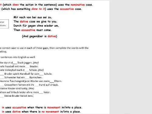 German worksheet: nominative/accusative/dative cases