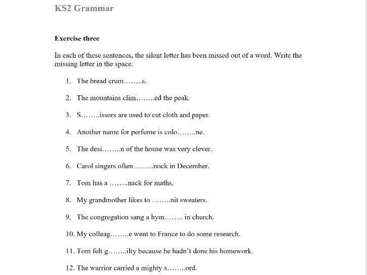 KS2 Silent Letters & Irregular Spellings Worksheet