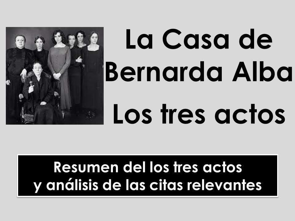 A-Level Spanish La Casa de Bernarda Alba - Análisis de los tres actos (Resumen y citas)