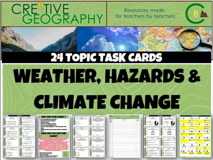 Weather Hazards and Climate Change Geography Task Cards