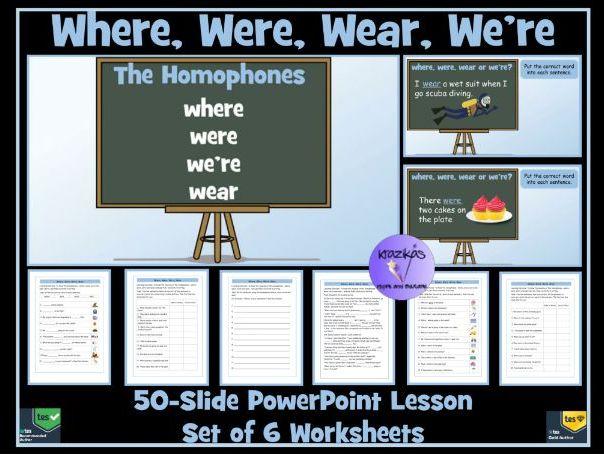 Homophones Where Were Were Wear Powerpoint Lesson 6