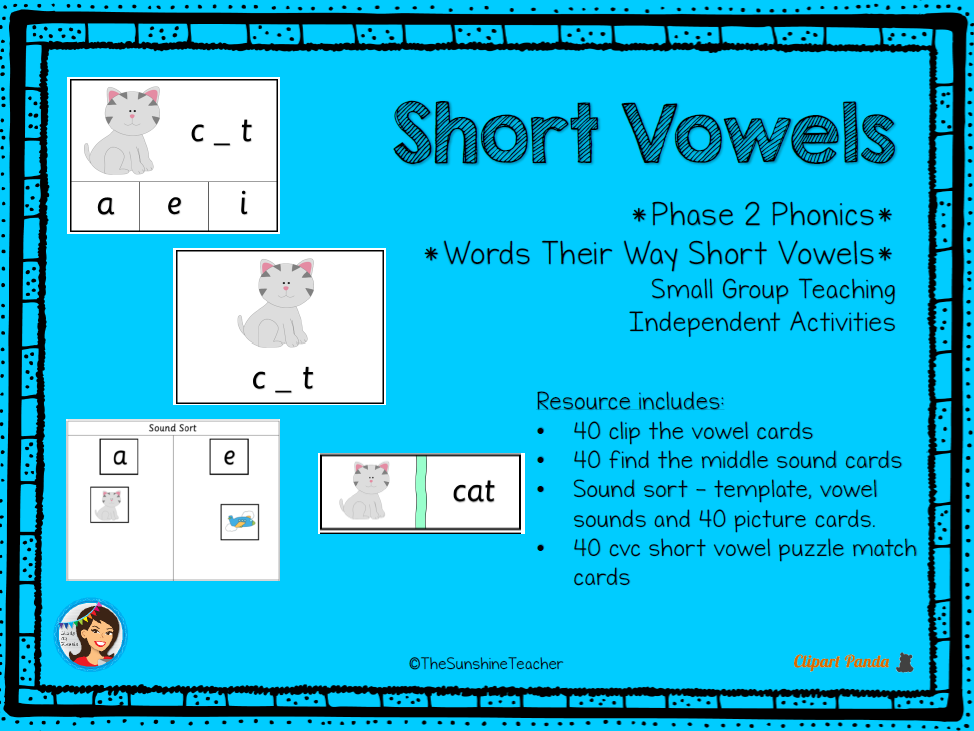 Phonics Phase 2 - Short Vowels - CVC - 4 Activities