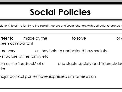 AQA Sociology - Year 1 - Families & Households - Social Policies
