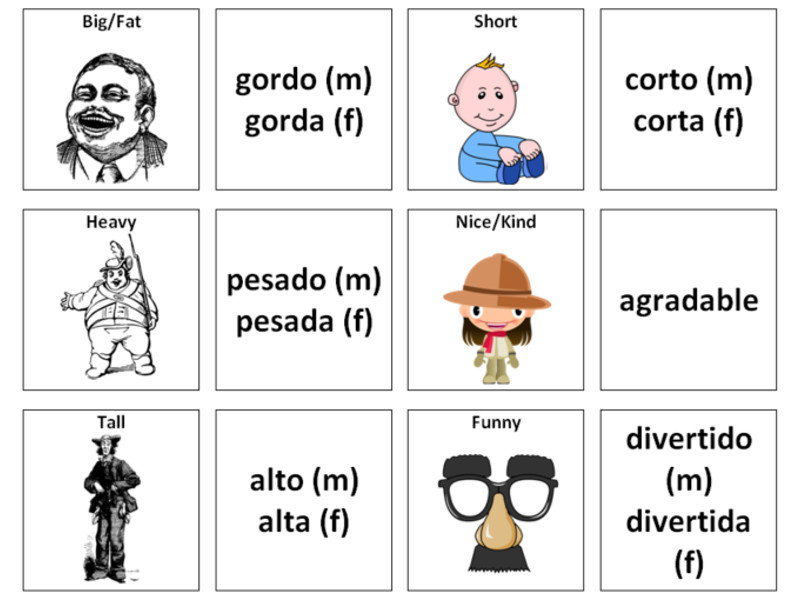 Describing People (Adjectives): Spanish Vocabulary Card Sort