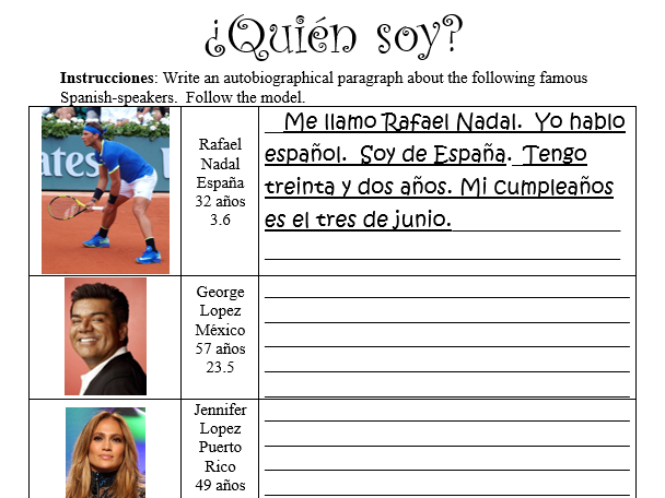 ¿Quién soy? Celebrity Edition! - Spanish Name, Age, Birthday and Nationality