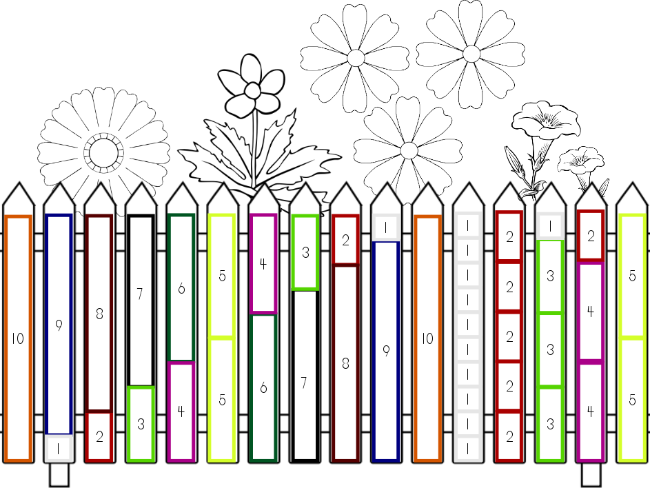 """Cuisenaire Rods """"Ways to 10"""" Flower Fence"""
